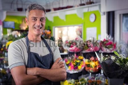 улыбаясь мужчины сотрудников корзины свежие овощи Сток-фото © wavebreak_media