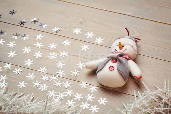 Pupazzo di neve Natale decorazione tavolo in legno tempo cane Foto d'archivio © wavebreak_media