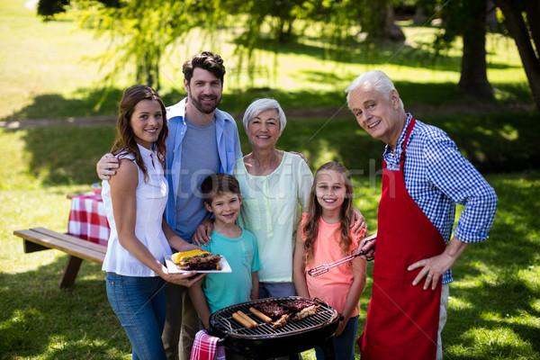 Multi generation family standing near the barbeque in park Stock photo © wavebreak_media