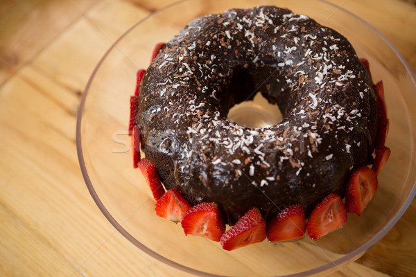 Cake aardbeien coffeeshop vruchten chocolade scherm Stockfoto © wavebreak_media