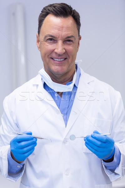 Portre gülen dişçi diş araçları Stok fotoğraf © wavebreak_media