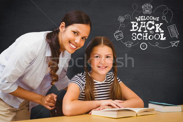 изображение женщины учитель девочку библиотека Сток-фото © wavebreak_media