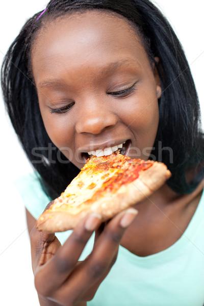 Tienermeisje eten pizza voedsel gezondheid Stockfoto © wavebreak_media