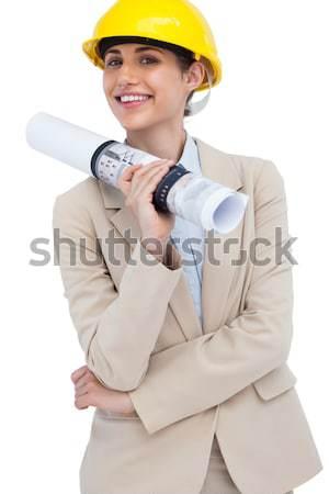 Stockfoto: Charmant · vrouwelijke · architect · telefoon · permanente · witte