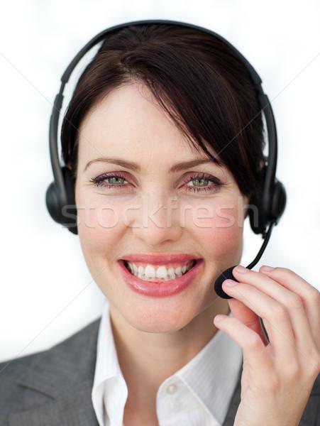 Entuzjastyczny obsługa klienta agent kobieta uśmiech telefonu Zdjęcia stock © wavebreak_media
