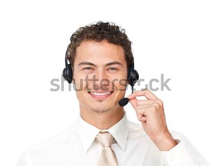 Jovem empresário fone isolado branco negócio Foto stock © wavebreak_media