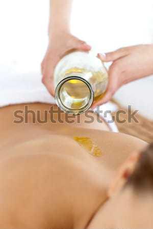 Bella donna massaggio olio da massaggio spa mano corpo Foto d'archivio © wavebreak_media