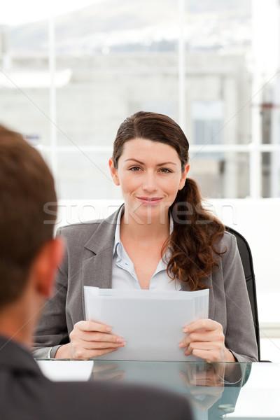 харизматический деловая женщина интервью бизнесмен служба бизнеса Сток-фото © wavebreak_media