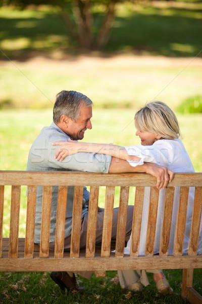 Boldog nyugdíjas pár ül pad nő Stock fotó © wavebreak_media