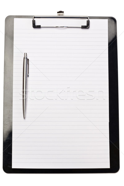 Pen on the left of note pad on a white background Stock photo © wavebreak_media