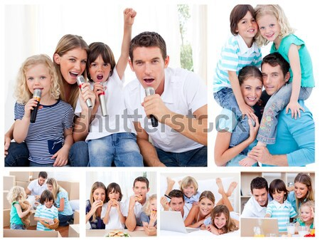 Collage familie genieten samen home Stockfoto © wavebreak_media