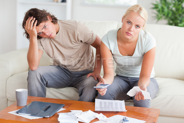 Aggódó pár kiadások nappali ház szeretet Stock fotó © wavebreak_media