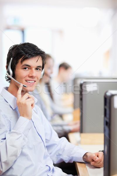 Porträt Betreiber posiert Headset Call Center Computer Stock foto © wavebreak_media