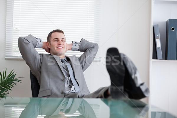 Smiling young businessman taking a break Stock photo © wavebreak_media