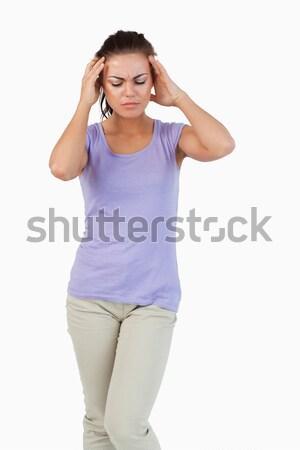 Młodych kobiet cierpienie głowy biały strony Zdjęcia stock © wavebreak_media