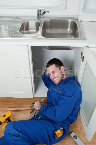 Ritratto sorridere sink cucina Foto d'archivio © wavebreak_media