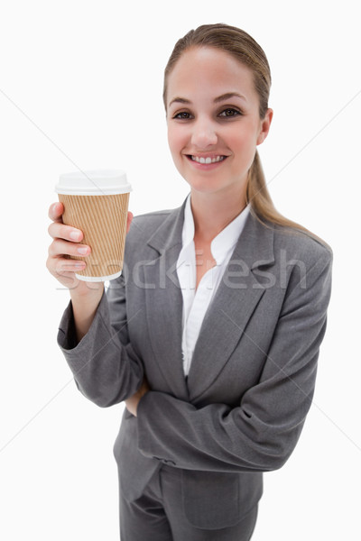 Portrait of a businesswoman holding a takeaway coffee against a white background Stock photo © wavebreak_media