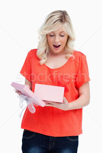 удивление открытие рождения подарок Сток-фото © wavebreak_media