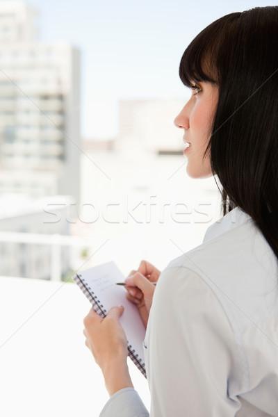 Stockfoto: Zakenvrouw · schrijven · notepad · hand · business