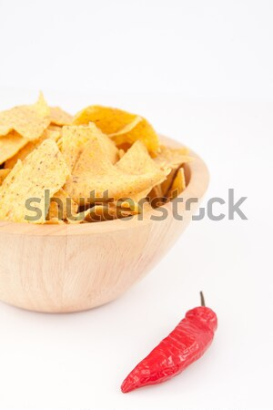 Pimento on a full bowl of crisps against white background Stock photo © wavebreak_media