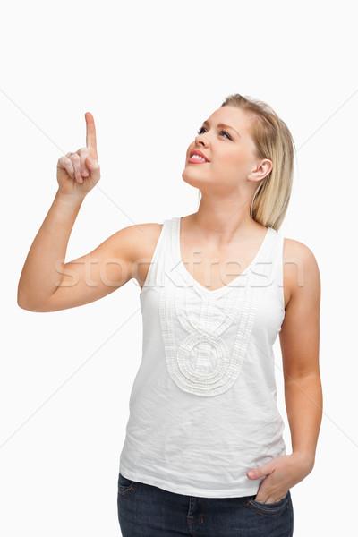 указывая пальца вверх белый Сток-фото © wavebreak_media