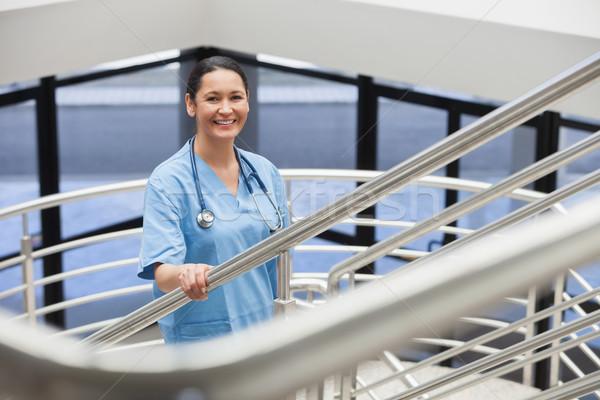 Foto d'archivio: Sorridere · infermiera · ospedale · corridoio · donna