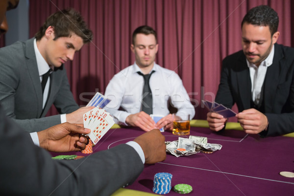 Zdjęcia stock: Mężczyzn · poker · tabeli · kasyno · strony · karty