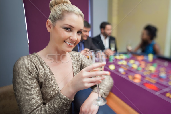 Champanhe vidro roleta tabela Foto stock © wavebreak_media