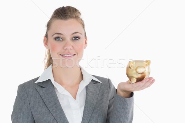 Photo stock: Femme · d'affaires · tirelire · souriant · sourire · costume