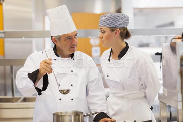 öğrenci öğretmen çorba mutfak mutlu Stok fotoğraf © wavebreak_media