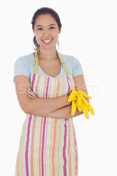 Nő mosolyog tart gumikesztyű visel kötény női Stock fotó © wavebreak_media