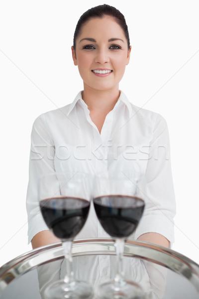 ストックフォト: ウエートレス · 銀 · トレイ · 眼鏡 · 赤ワイン