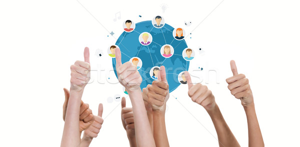 Composite image of thumbs raised and hands up  Stock photo © wavebreak_media