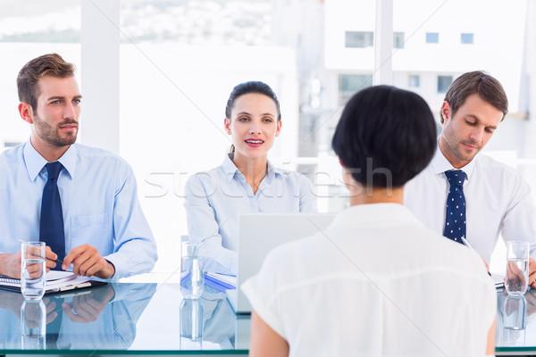 Kandidaat sollicitatiegesprek kantoor computer vergadering laptop Stockfoto © wavebreak_media