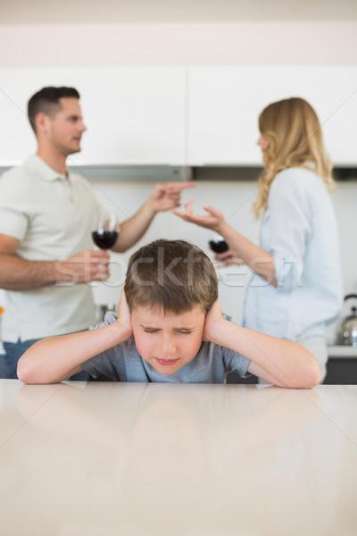 Ingerült fiú fülek szülők veszekedik otthon Stock fotó © wavebreak_media