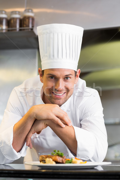 Mosolyog férfi szakács főtt étel konyha Stock fotó © wavebreak_media