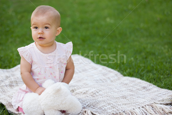 Bebé relleno juguete sesión manta parque Foto stock © wavebreak_media
