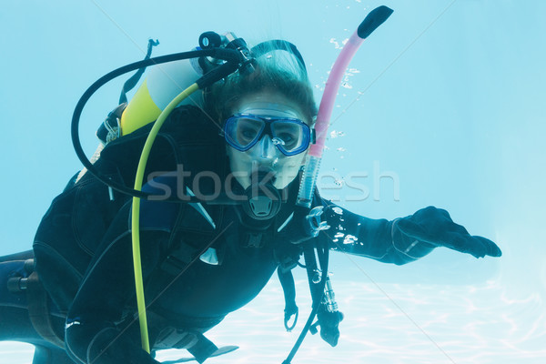 Woman on scuba training submerged in swimming pool Stock photo © wavebreak_media