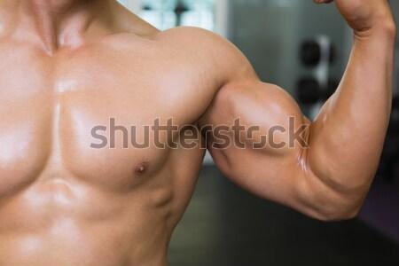 Középső rész izmos férfi izmok közelkép tornaterem Stock fotó © wavebreak_media
