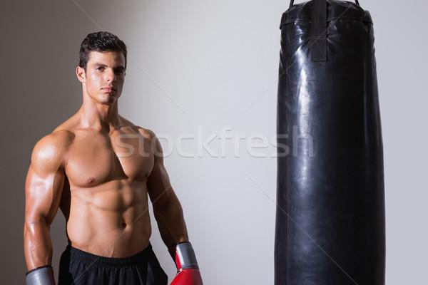 Ritratto a torso nudo muscolare boxer grigio Foto d'archivio © wavebreak_media
