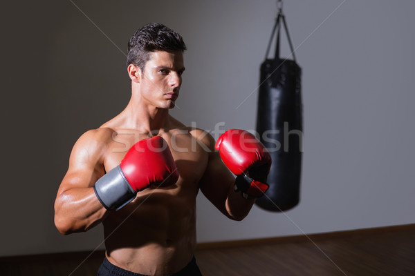 Shirtless muscular boxer in defensive stance in health club Stock photo © wavebreak_media
