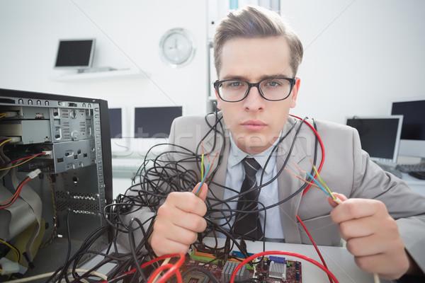компьютер инженер рабочих сломанной кабелей служба Сток-фото © wavebreak_media