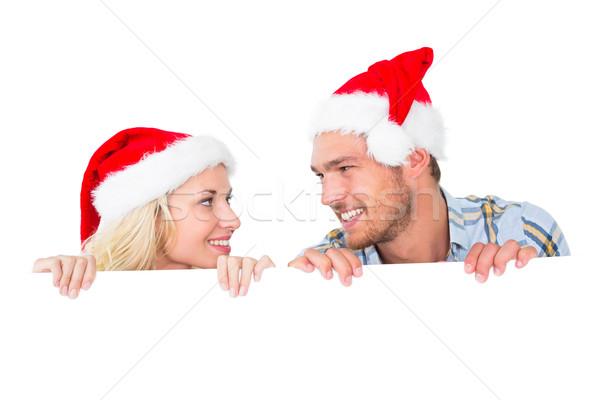 Para uśmiechnięty za plakat biały Zdjęcia stock © wavebreak_media