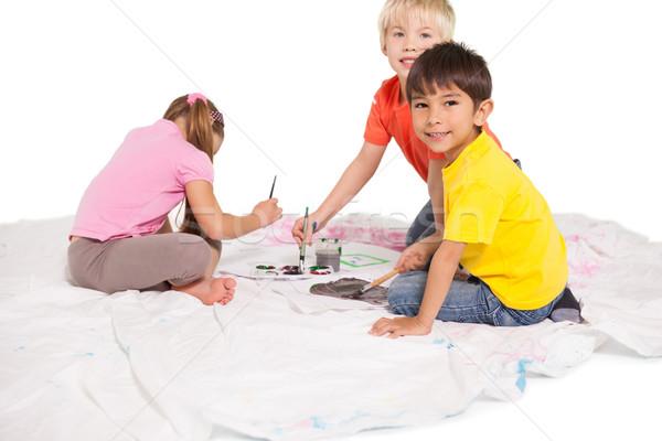 счастливым мало детей Живопись полу белый Сток-фото © wavebreak_media