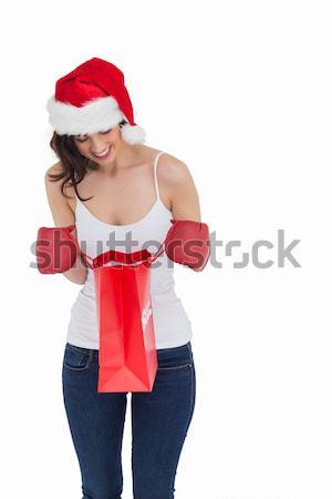 счастливым брюнетка боксерские перчатки глядя корзина белый Сток-фото © wavebreak_media