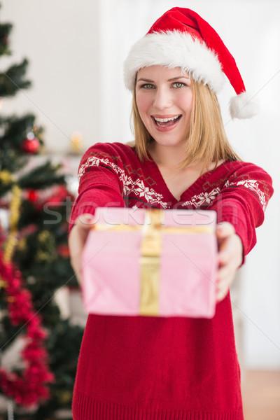 Smiling festive woman offering a pink gift Stock photo © wavebreak_media
