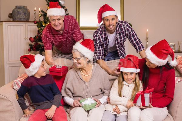 Сток-фото: счастливым · расширенной · семьи · Hat · подарки