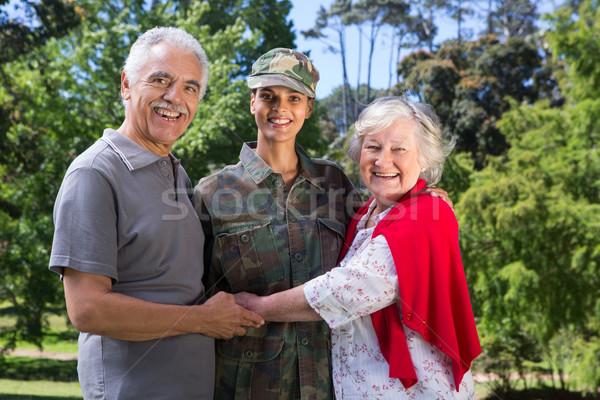 Soldaat ouders vrouw boom voorjaar Stockfoto © wavebreak_media