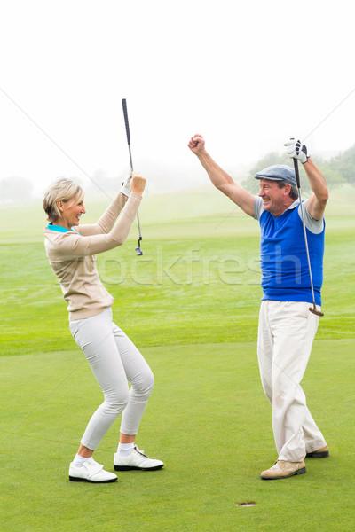Гольф пару туманный день гольф Сток-фото © wavebreak_media