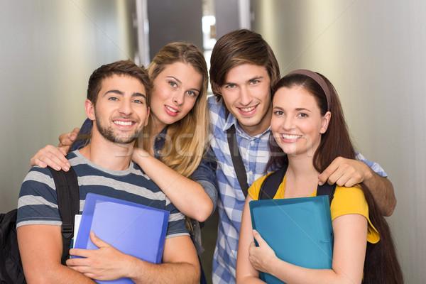 Stok fotoğraf: Öğrenciler · klasörler · kolej · koridor · portre